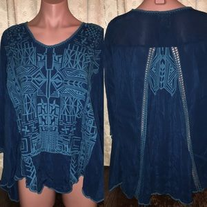 Johnny Was Embroidered Tunic Top - Size Large